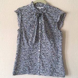 Calvin Klein geometric top with tie detail
